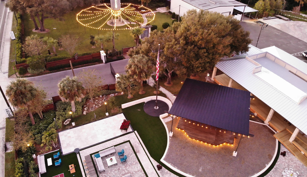 Aerial View - The Silo Garden and Courtyard Event Spaces