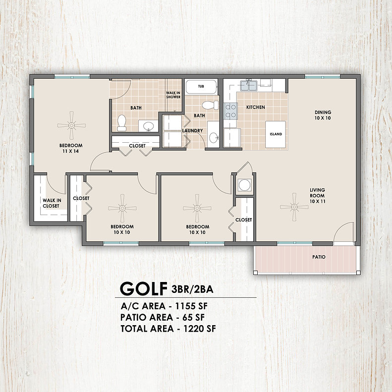 Golf 3 bedroom/2 bath floorplan