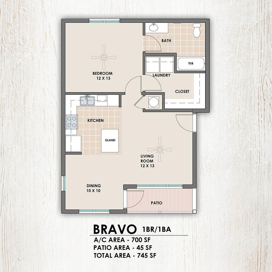 Bravo 1 bedroom/1 bath floorplan