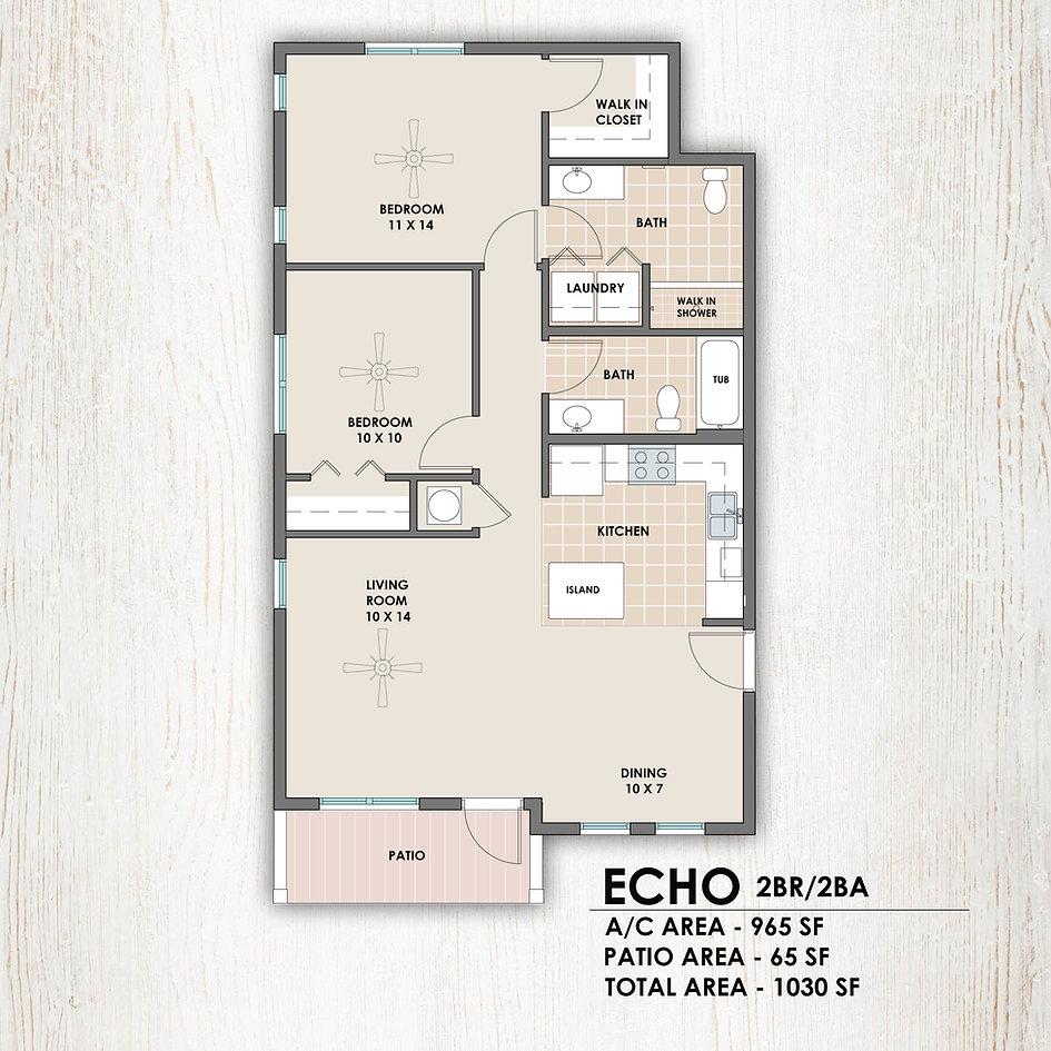 Echo 2 bedroom/2 bath floorplan