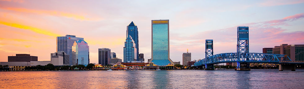 Sunset view of the Jacksonville skyline
