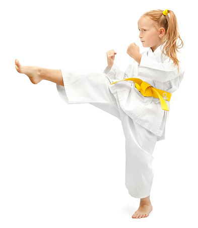 Taekwondo Yellow Belt Girl Kicking
