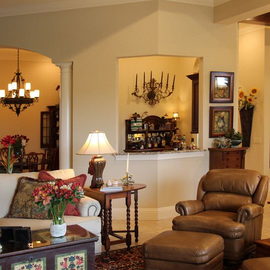 Family Room with Bar beyond