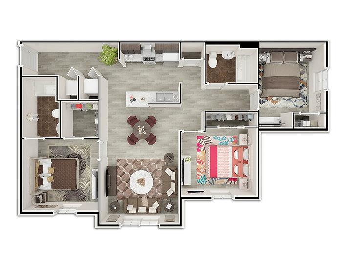 Three Bedroom / Two Bath floorplan