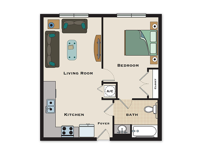 Arbor Village 1 Bedroom/1 Bath Floorplan