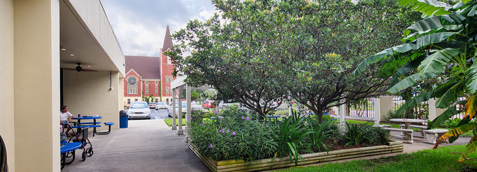 Landscaped grounds, Cathedral in the background