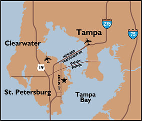 Locator map showing the Tampa Bay area