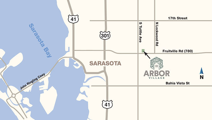 A close up locator map showing Arbor Village just east of Sarasota