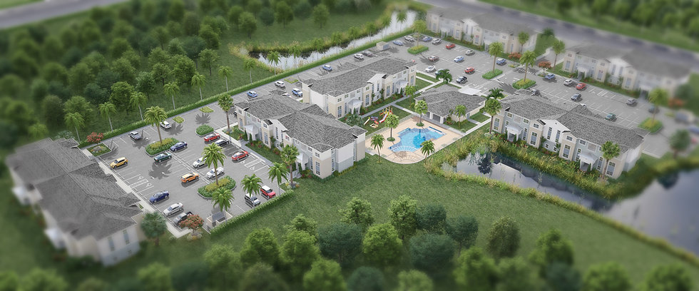 A beautiful aerial rendering of the Preserve at Sabal Park apartment homes