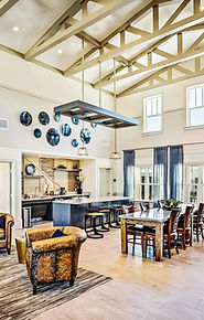 A photo of the beautiful clubhouse showing vaulted ceilings