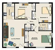 3 bedroom / 1 bath floorplan