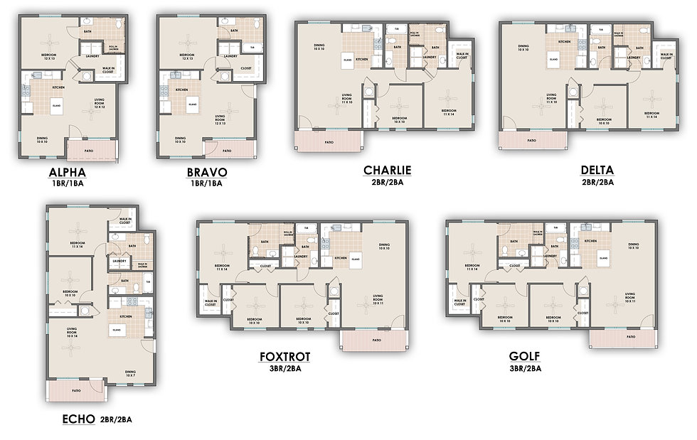 A combination image showing all 7 different floor plans available