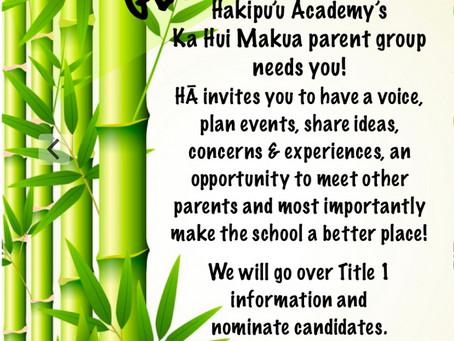Get Involved! Ka Hui Makua & Title 1
