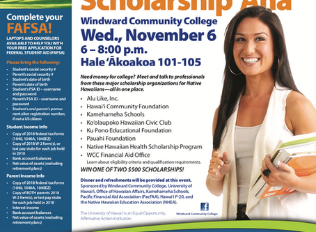 Native HawaiianScholarship 'AhaWindward Community CollegeWed., November 6, 6:00pm - 8:00pm