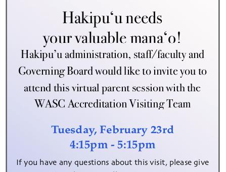 WASC Parent Involvement! February 23rd, 2021