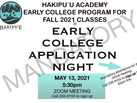 Mandatory Early College Application Night