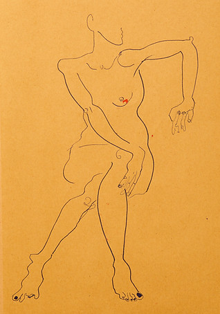 Seated nude in blue
