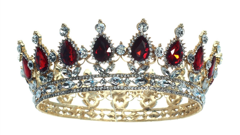 Gold & Red  Rhinestone Crown