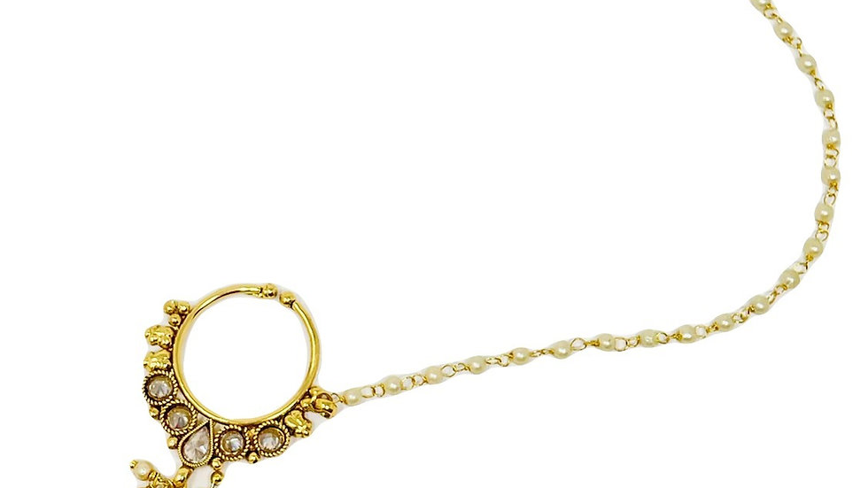 Golden Pearl-Faux Nose Chain