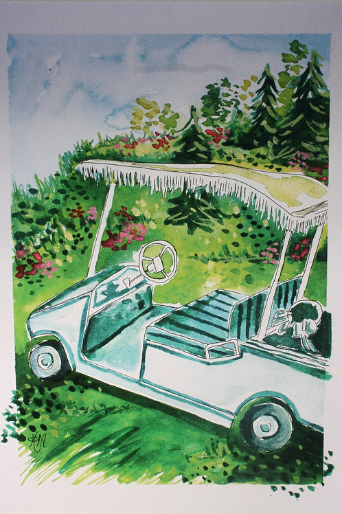 Vintage Golf Cart. 12x16 watercolor print with 1-inch border.
