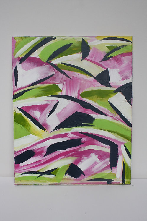 Pink & green abstract. Acrylic on 16x20 canvas.