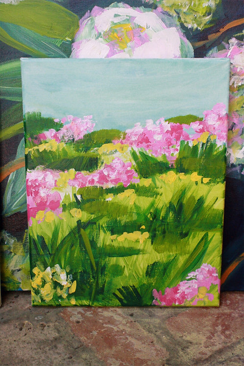 Pink & yellow (1). Acrylic on 11x14 canvas. 50% of sale goes to Red Cross.