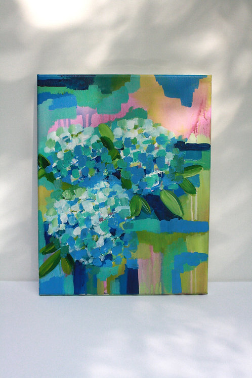 Happy hydrangeas. Acrylic on 11x14 canvas.