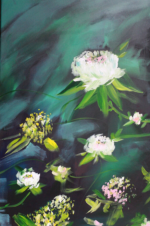Spring blooms. Acrylic on 24x36 canvas. 50% of sale goes to Red Cross.