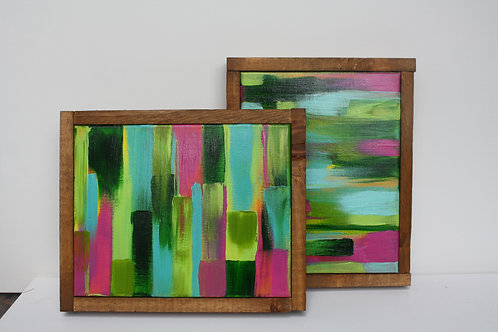 Abstract duo. Acrylic on 8x10 framed canvases. Selling as a pair