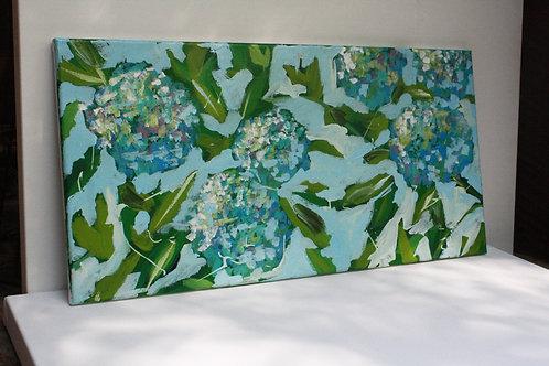 Blue hydrangeas. Acrylic on 24x12 canvas.
