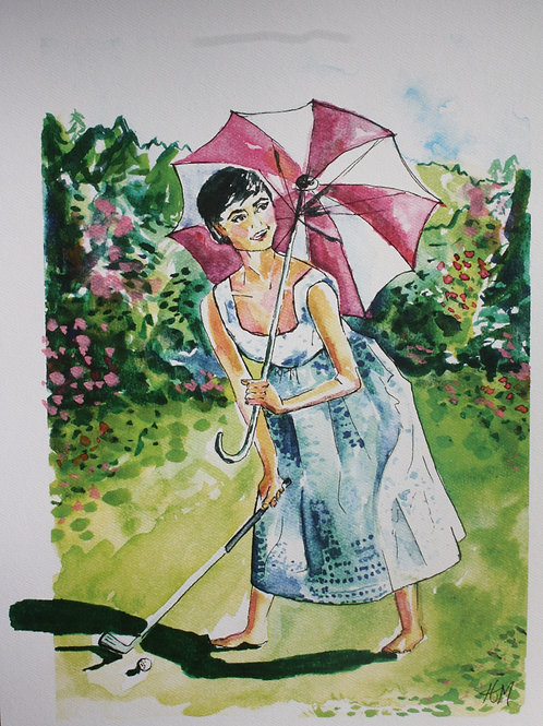 Golf Girl. 12x16 watercolor print with 1-inch border.