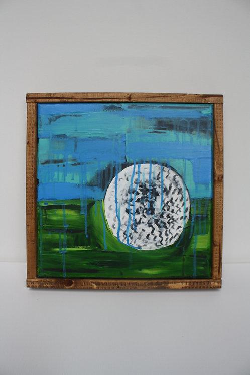 Golf ball. Acrylic on 12x12 framed canvas.