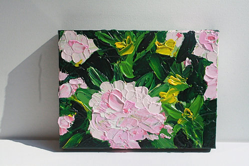 Textured camelia (1). Mixed media on 12x9 canvas. 50% of sale goes to Red Cross.