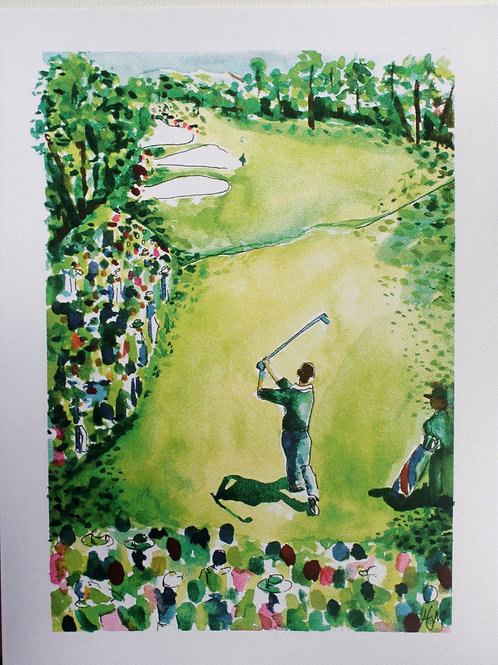 Arnold Palmer at Augusta National. 12x16 water colorprint with 1-inch border.