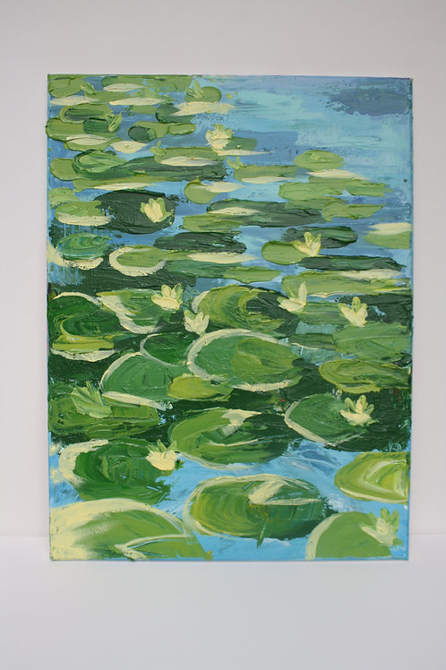 Waterlilies. Acrylic on 18x24 canvas.
