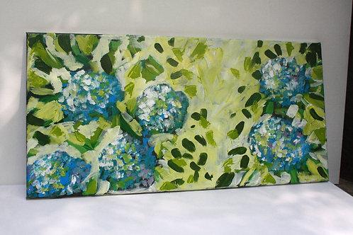 Yellow-green hydrangeas. Acrylic on 24x12 canvas.