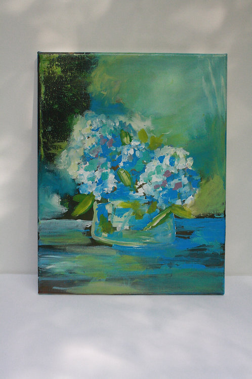 Blue & green hydrangeas. Acrylic on 11x14 canvas.