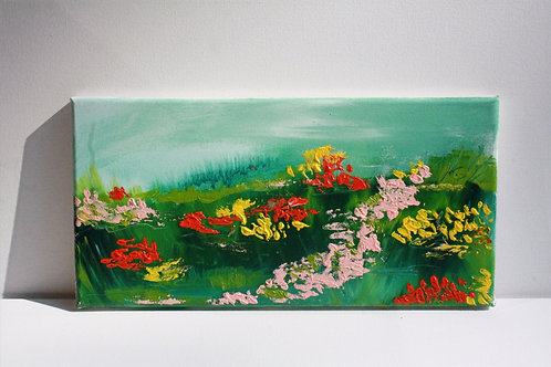 Field of flowers. Acrylic on 16x8 canvas. 50% of sale goes to Red Cross.