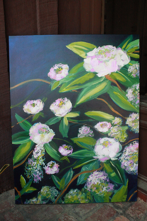 In the garden. Acrylic on 30x40 canvas. 50% of sale goes to Red Cross.