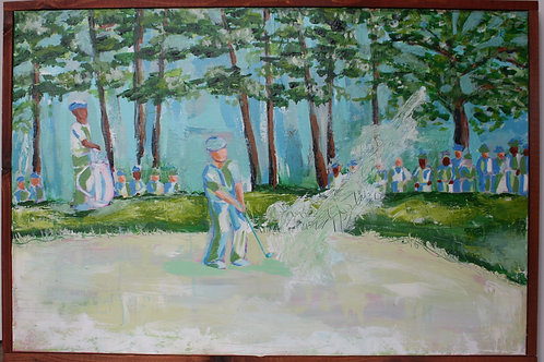Augusta National in Color - blue & green. Acrylic on 24X36 framed canvas..