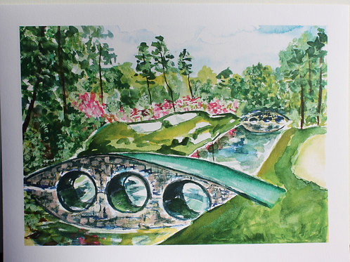 Amen Corner at Augusta National. 12x16 watercolor print with 1 inch border.