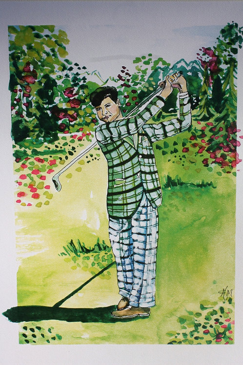 Golf Guy. 12x16 watercolor print with 1-inch border.