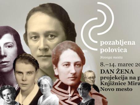 Ob 8. marcu: Projekcija na pročelje Knjižnice Mirana Jarca Novo mesto
