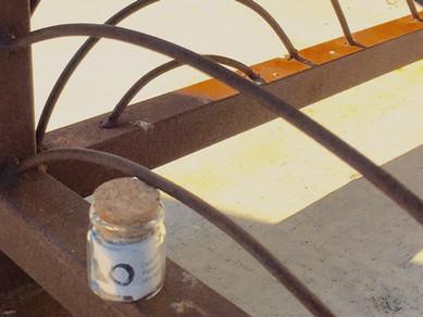 Bottle #13, Green Sage restaurant railing, Asheville, North Carolina, USA