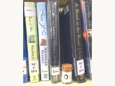 "Bottle #19, Haywood County Library, Waynesville, North Carolina, USA, near book titled ""Message"