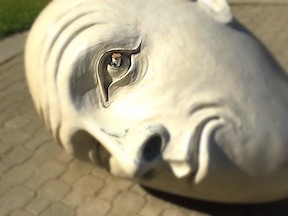 Arneson sculpture with bottle