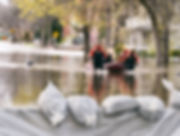Flood Protection Sandbags with flooded h