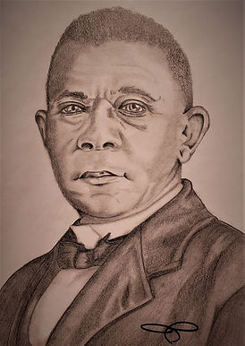 Booker T Washington portrait drawing for