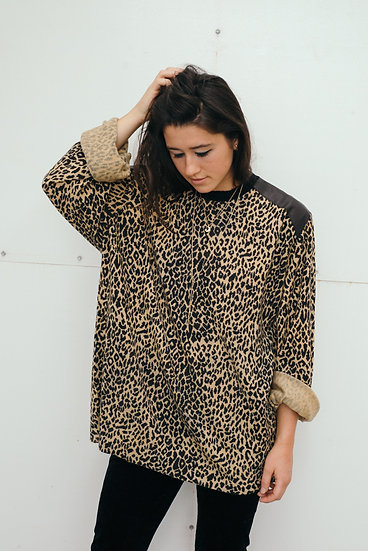 Leopard & Black Leather Throw On