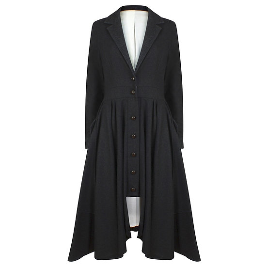 CHARCOAL WOOL RIDING COAT